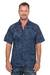 Men's cotton batik shirt, 'Pixel Play' - Men's 100% Cotton Navy Short Sleeve Hand Made Batik Shirt thumbail