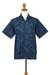 Men's cotton batik shirt, 'Pixel Play' - Men's 100% Cotton Navy Short Sleeve Hand Made Batik Shirt (image 2e) thumbail