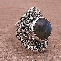 Labradorite dome ring, 'Jepun Mists' - Labradorite and Sterling Silver Dome Ring from Bali