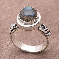 Labradorite cocktail ring, 'Magnificent Forest' - Labradorite and Sterling Silver Cocktail Ring from Bali