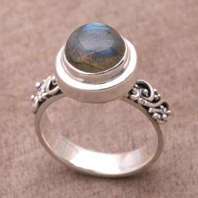 plain silver thumb ring trend - Labradorite and Sterling Silver Cocktail Ring from Bali