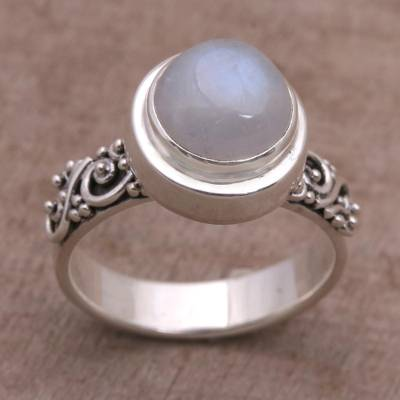 17x11 designer ring settings - Rainbow Moonstone and Sterling Silver Ring from Bali