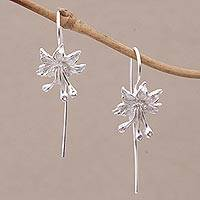 Sterling silver drop earrings, 'Clover Blooms' - Sterling Silver Floral Drop Earrings from Bali