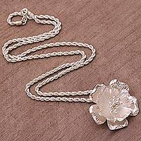 Sterling silver pendant necklace, 'Jasmine Shimmer' - Sterling Silver Floral Pendant Necklace from Bali