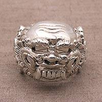 Sterling silver dome ring, 'Celuluk Charm' - Sterling Silver Ring Depicting Balinese Demon