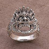 Sterling silver band ring, 'Bhoma' - Sterling Silver Cultural Hindu Band Ring from Bali