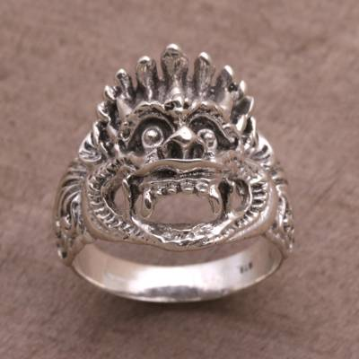 pink stone silver ring - Sterling Silver Cultural Hindu Band Ring from Bali