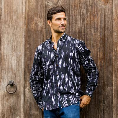 Men's cotton batik shirt, 'Pebble Lights' - Black and White Men's Long Sleeved Button Down Shirt