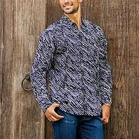 Men's cotton batik shirt, 'Bold Rain' - Hand Stamped Black and White Men's Button Down Shirt