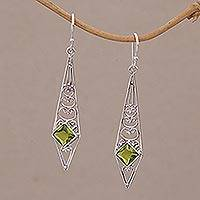 Peridot dangle earrings, 'Green Ties' - Peridot and Sterling Silver Dangle Earrings from Bali