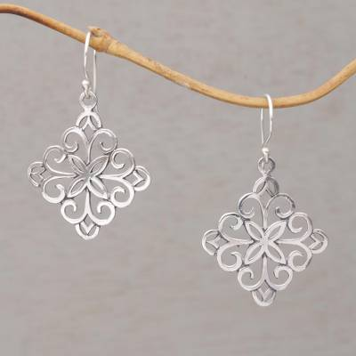 Sterling silver dangle earrings, 'Vine Wall' - Sterling Silver Spiral Motif Dangle Earrings from Bali