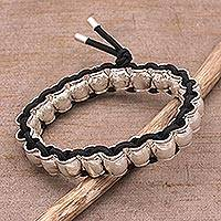 Sterling silver beaded stretch bracelet,