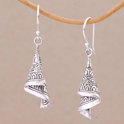 Sterling silver dangle earrings, Shining Songket