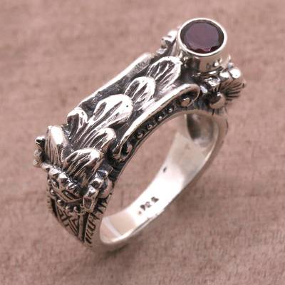 Garnet single stone ring, 'Klungkung Leaves' - Garnet and 925 Sterling Silver Single Stone Ring from Bali