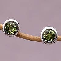 Peridot stud earrings, 'Glistening Paws' - Peridot and Sterling Silver Paw Stud Earrings from Bali