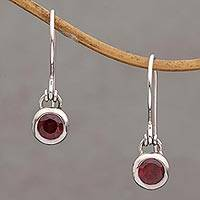 Garnet dangle earrings, 'Glowing Paws' - Garnet and Sterling Silver Dangle Earrings from Bali