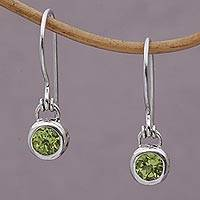 Peridot dangle earrings, 'Glowing Paws' - Peridot and Sterling Silver Dangle Earrings from Bali