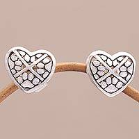 Sterling silver stud earrings, 'Paws for Love' - Sterling Silver Heart-Shaped Stud Earrings from Bali