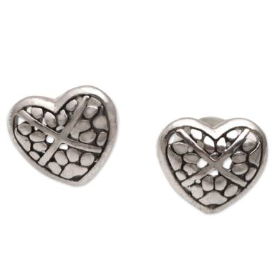 Sterling Silver Heart-Shaped Stud Earrings from Bali