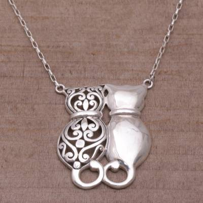 Sterling silver pendant necklace, 'Romantic Kittens' - Sterling Silver Cat Pendant Necklace from Bali