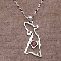 Garnet pendant necklace, 'Hound Heart' - Garnet and Sterling Silver Dog Necklace from Bali