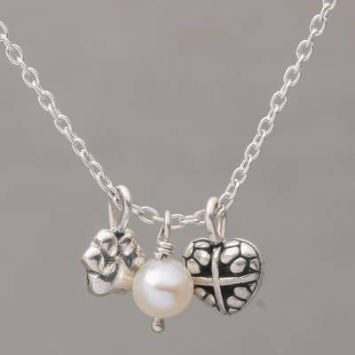 Cultured pearl pendant necklace, 'Heartfelt Paws' - Cultured Pearl and Sterling Silver Heart Paw Necklace