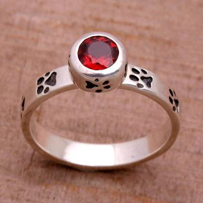 Garnet single stone ring, 'Paws for Celebration' - Garnet and Sterling Silver Single Stone Ring from Bali