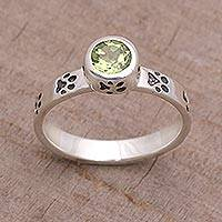 Peridot single stone ring, 'Paws for Celebration' - Peridot and Sterling Silver Single Stone Ring from Bali