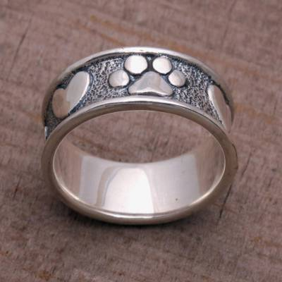 durability of titanium rings - Sterling Silver Paw Heart Band Ring from Bali