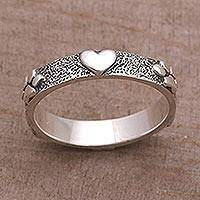 Sterling silver band ring, 'Paws for Love' - Sterling Silver Heart and Paw Print Ring from Bali