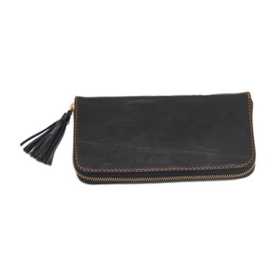 Handmade Black Leather Clutch Handbag with Tassel