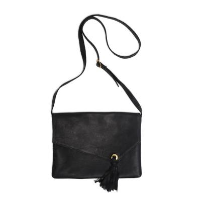 Coal Black Leather Sling Handbag Handmade in Indonesia