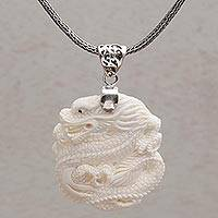 Sterling silver and bone pendant necklace, 'Sky Guardian' - Sterling Silver and Bone Dragon Pendant Necklace from Bali