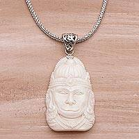 Sterling silver and bone pendant necklace, 'Supreme Hanuman' - Sterling Silver and Bone Hindu Pendant Necklace from Bali