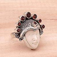 Garnet cocktail ring, 'Sunshine Knight' - Garnet and Sterling Silver Face Cocktail Ring from Bali
