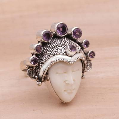 Amethyst and Sterling Silver Face Cocktail Ring from Bali