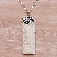 Amethyst pendant necklace, 'Nature Goddess' - Amethyst and Bone Pendant Necklace from Bali