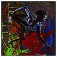 'Spirit of a Woman' - Colorful Expressionist Painting of the Female Form from Bali
