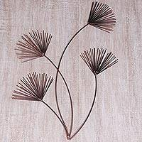 Iron wall sculpture, 'Cyperus Stems' - Handcrafted Iron Wall Sculpture of Branches from Bali