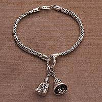 Featured review for Sterling silver charm bracelet, Buddhas Stupa Bell