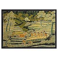 Batik painting, 'Harvest Time II' - Signed Batik Painting of Rice Farmers from Bali