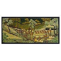 Batik painting, 'Farmer's Life' - Signed Batik Painting of Rice Farmers from Bali