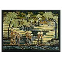 Batik painting, 'Farming On' - Signed Batik Painting of Rice Farmers from Bali