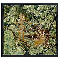 Batik painting, 'Deer Trick II' - Signed Batik Painting of Hindu Ramayana Scene from Bali