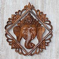 Wood wall relief panel, 'Ganesha Temple' - Ganesha Suar Wood Decorative Wall Panel from Indonesia