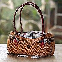 Ate grass batik handle handbag, 'Lombok Basket' - Handcrafted Ate Grass Batik Handle Handbag from Bali