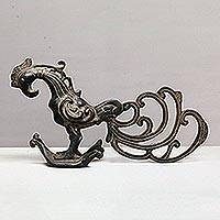 Bronze sculpture, 'Black Rooster' - Antiqued Bronze Rooster Sculpture from Bali