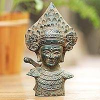 Bronze sculpture, 'Janger Performer' - Antiqued Bronze Sculpture of a Traditional Dancer from Bali
