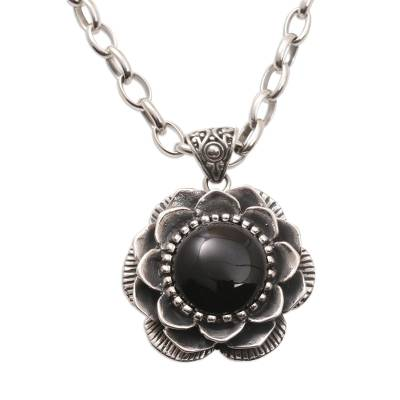Handmade Onyx and Sterling Silver Floral Pendant Necklace