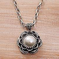 Cultured pearl pendant necklace, 'Resplendent Lotus' - Cultured Pearl and Sterling Silver Floral Pendant Necklace